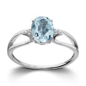 Mestergull Lekker ring i hvitt gull med diamanter og blå topas MG DIAMONDS Ring