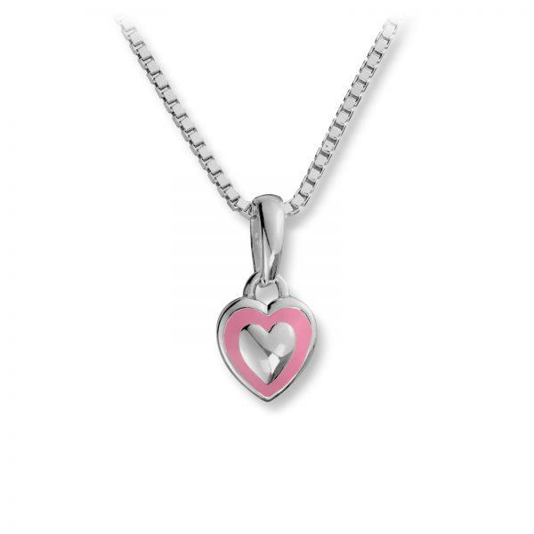 Mestergull Søtt hjerteanheng i sølv med rosa lakk MG BASIC Anheng