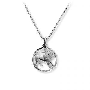 Mestergull Stjernetegn anheng i rhodinert sølv, Løven MG BASIC Anheng