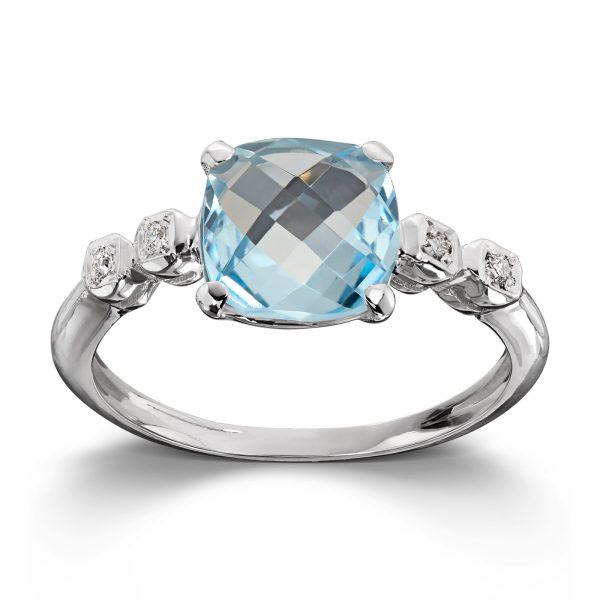 Mestergull Flott ring i hvitt gull med diamanter og blå topas MG DIAMONDS Ring
