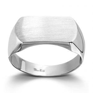 Mestergull Stilren signetring i hvitt gull MESTERGULL Ring