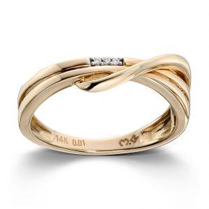 Mestergull Flott ring i gult gull med diamanter MESTERGULL Ring