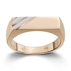 Mestergull Flott ring til herre i gult og hvitt gull MESTERGULL Ring