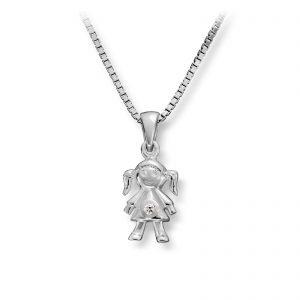Mestergull Søtt anheng i sølv av jente MG BASIC Anheng