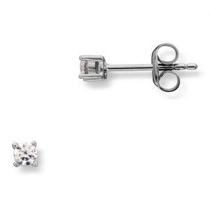 Mestergull Enkel ørepynt i rhodinert sølv med cubic zirkonia MG BASIC Ørepynt