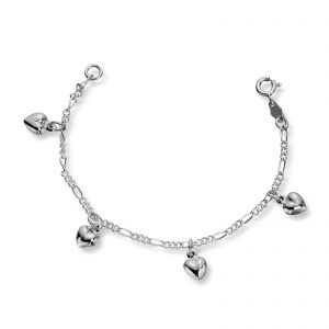 Mestergull Søtt barnearmbånd i sølv med hjerter MG BASIC Armbånd