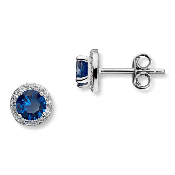 Mestergull Fin ørepynt i rhodinert sølv med blå krystall MG BASIC Ørepynt