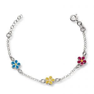 Mestergull Søtt armbånd i sølv med emaljerte blomster MG BASIC Armbånd