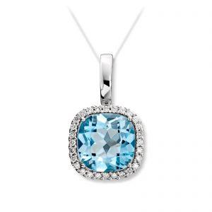 Mestergull Delikat anheng i hvitt gull med diamanter og blå topas MG DIAMONDS Anheng