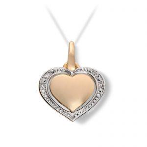 Mestergull Vakkert hjerteanheng i gult gull med diamanter MG DIAMONDS Anheng