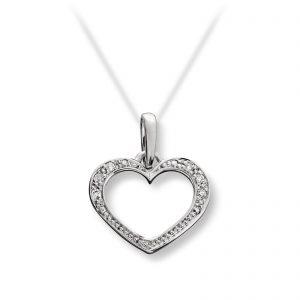 Mestergull Fint hjerte anheng i hvitt gull med diamanter MG DIAMONDS Anheng