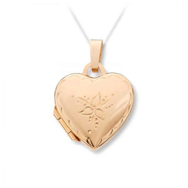 Mestergull Flott hjertemedaljong i gult gull med mønster MESTERGULL Anheng