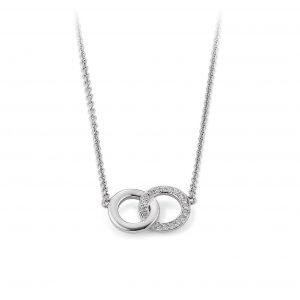 Mestergull Fint kjede med sirkler i rhodinert sølv med cubic zirkonia VIVENTY Kjede