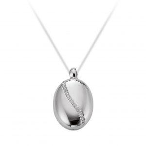 Mestergull Fin medaljong i rhodinert sølv med cubic zirkonia VIVENTY Anheng