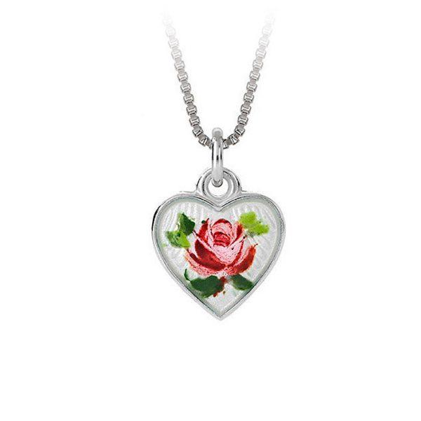 Mestergull Sølv anheng med rose i emalje PIA & PER Anheng