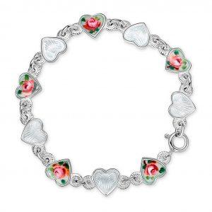 Mestergull Armbånd i sølv med emaljerte hjerter i hvit og roseblomst PIA & PER Armbånd