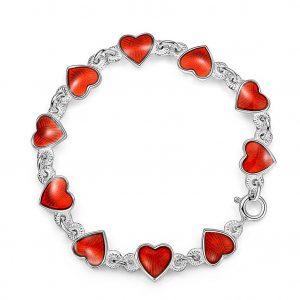Mestergull Barnearmbånd i sølv og hjerter i rød emalje PIA & PER Armbånd