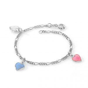 Mestergull Sølv armbånd til barn med charms i rosa, blå og hvit emalje PIA & PER Armbånd