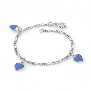 Mestergull Sølv armbånd til barn med charms i blå emalje PIA & PER Armbånd