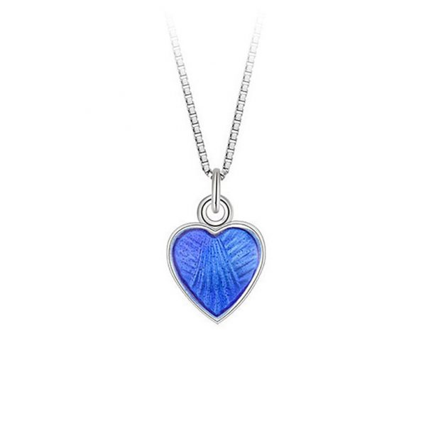 Mestergull Lite og søtt sølv hjerte anheng med blå emalje PIA & PER Anheng