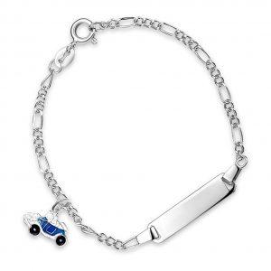 Mestergull Sølv og emalje armbånd med plate for gravering og charms i blå bil PIA & PER Armbånd