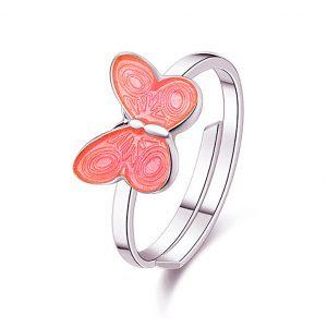 Mestergull Ring med rosa sommerfugl i sølv og emalje PIA & PER Ring
