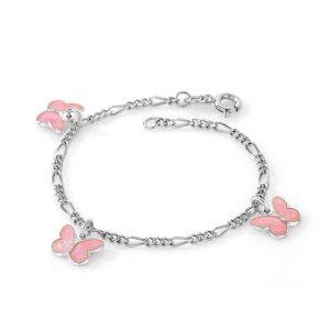 Mestergull Sølv armbånd til barn med sommerfugl charms i rosa emalje PIA & PER Armbånd