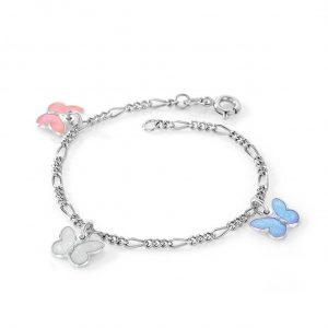 Mestergull Sølv armbånd til barn med sommerfugl charms i rosa, lys blå og hvit emalje PIA & PER Armbånd