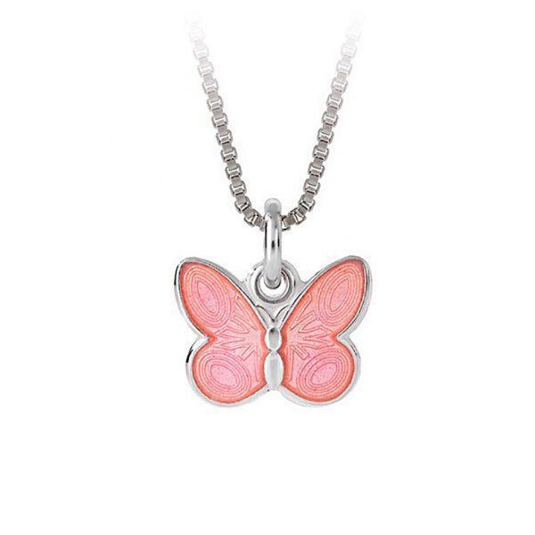 Mestergull Anheng med sommerfugl i sølv og rosa emalje PIA & PER Anheng