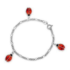 Mestergull Armbånd i sølv med charms marihøner i sort og rød emalje PIA & PER Armbånd