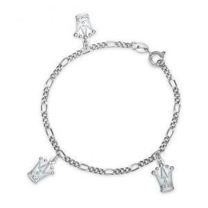 Mestergull Armbånd med lys blå kroner som charms i sølv og emalje PIA & PER Armbånd