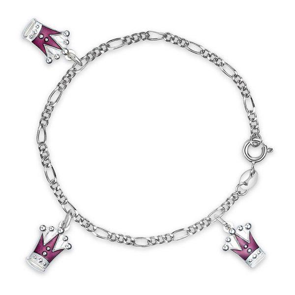 Mestergull Armbånd med lilla kroner som charms i sølv og emalje PIA & PER Armbånd