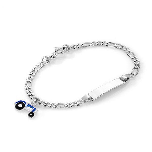 Mestergull Sølv og emalje armbånd med plate for gravering og charms i blå traktor PIA & PER Armbånd