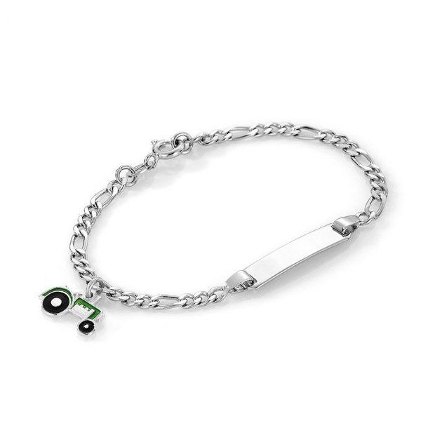 Mestergull Sølv og emalje armbånd med plate for gravering og charms i grønn traktor PIA & PER Armbånd
