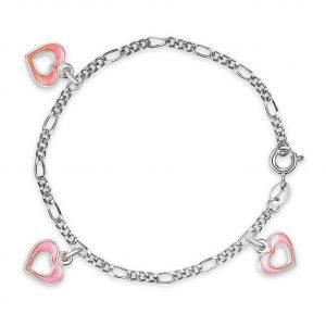 Mestergull Sølv og emalje armbånd med charms i åpne hjerter og rosa emalje PIA & PER Armbånd