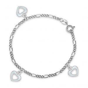 Mestergull Sølv og emalje armbånd med charms i åpne hjerter og hvit emalje PIA & PER Armbånd
