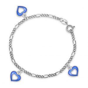 Mestergull Sølv og emalje armbånd med charms i åpne hjerter og blå emalje PIA & PER Armbånd