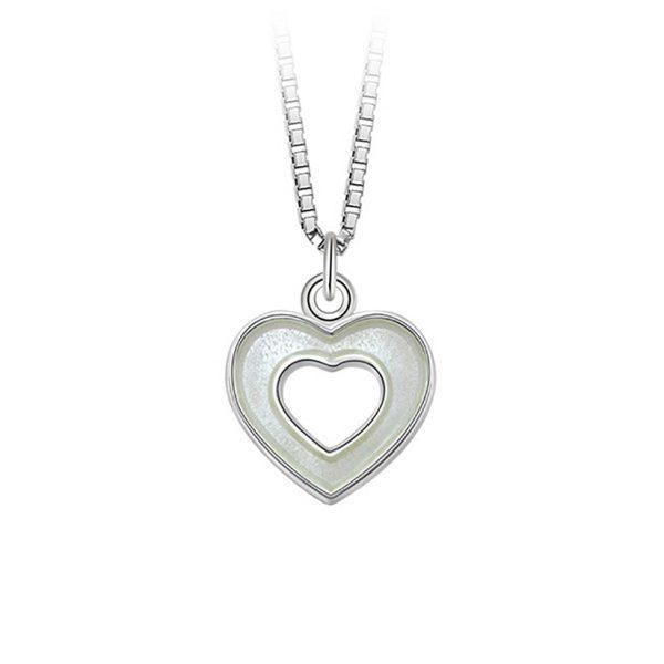 Mestergull Sølv og emalje anheng med åpne hjerter i hvit emalje PIA & PER Anheng