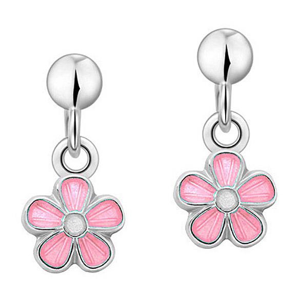 Mestergull Sølv ørepynt heng med blomster i rosa emalje PIA & PER Ørepynt