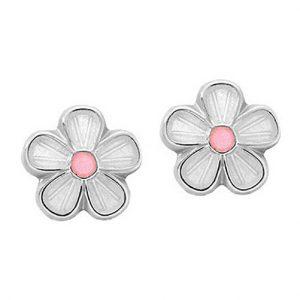 Mestergull Ørepynt i sølv blomst med hvit og rosa emalje PIA & PER Ørepynt
