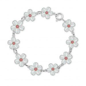 Mestergull Sølv armbånd med blomster i hvit og rosa emalje PIA & PER Armbånd