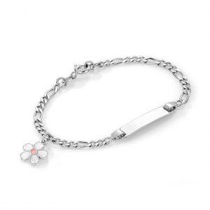 Mestergull Sølv og emalje armbånd med plate for gravering og charms med hvit blomst PIA & PER Armbånd