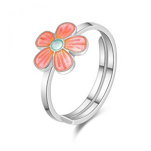 Mestergull Sølv ring med blomster i rosa emalje PIA & PER Ring