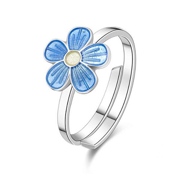 Mestergull Sølv ring med blomster i lys blå emalje PIA & PER Ring