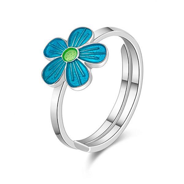 Mestergull Sølv ring med blomster i turkis emalje PIA & PER Ring