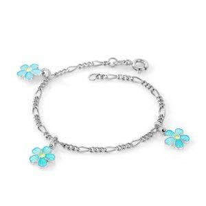 Mestergull Sølv armbånd med charms i blomster med turkis emalje PIA & PER Armbånd