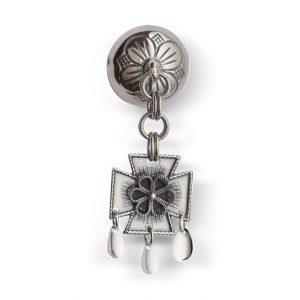 Mestergull Halssølje i oksidert sølv med enkelt heng. NORSK BUNADSØLV Sølje