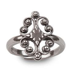 Mestergull Ring til Nordmøre i oksidert sølv. NORSK BUNADSØLV Ring
