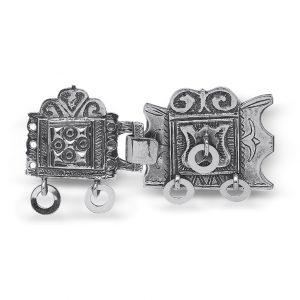 Mestergull Romsdal beltespenne i oksidert sølv NORSK BUNADSØLV Spenne