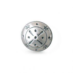 Mestergull Knapp i oksidert sølv. Mye brukt i Tromsbunaden NORSK BUNADSØLV Knapp